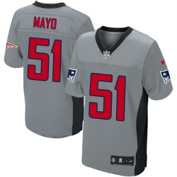 New England Patriots Jerod Mayo Official Nike Grey Shadow Elite Adult NFL Jersey