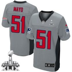 New England Patriots Jerod Mayo Official Nike Grey Shadow Elite Adult Super Bowl XLIX NFL Jersey