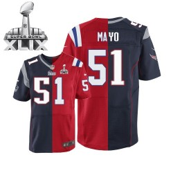 New England Patriots Jerod Mayo Official Nike Two Tone Elite Adult Team/Alternate Super Bowl XLIX NFL Jersey