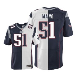 New England Patriots Jerod Mayo Official Nike Two Tone Elite Adult Team/Road NFL Jersey
