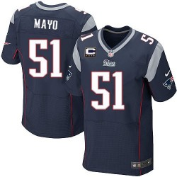 New England Patriots Jerod Mayo Official Nike Navy Blue Elite Adult Home C Patch NFL Jersey