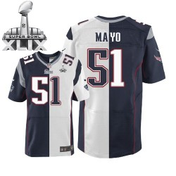 New England Patriots Jerod Mayo Official Nike Two Tone Elite Adult Team/Road Super Bowl XLIX NFL Jersey