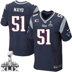 New England Patriots Jerod Mayo Official Nike Navy Blue Elite Adult Home C Patch Super Bowl XLIX NFL Jersey