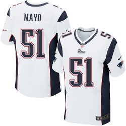 New England Patriots Jerod Mayo Official Nike White Elite Adult Road NFL Jersey