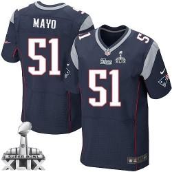 New England Patriots Jerod Mayo Official Nike Navy Blue Elite Adult Home Super Bowl XLIX NFL Jersey