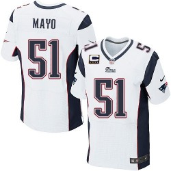 New England Patriots Jerod Mayo Official Nike White Elite Adult Road C Patch NFL Jersey