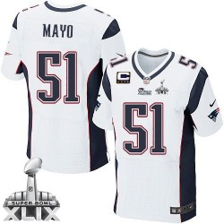 New England Patriots Jerod Mayo Official Nike White Elite Adult Road C Patch Super Bowl XLIX NFL Jersey