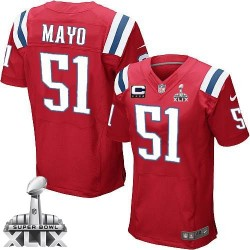 New England Patriots Jerod Mayo Official Nike Red Elite Adult Alternate C Patch Super Bowl XLIX NFL Jersey