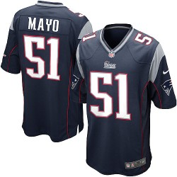 New England Patriots Jerod Mayo Official Nike Navy Blue Game Adult Home NFL Jersey