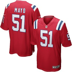 New England Patriots Jerod Mayo Official Nike Red Game Adult Alternate NFL Jersey