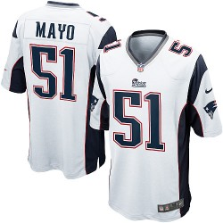 New England Patriots Jerod Mayo Official Nike White Game Adult Road NFL Jersey