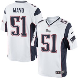 New England Patriots Jerod Mayo Official Nike White Limited Adult Road NFL Jersey