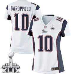 New England Patriots Jimmy Garoppolo Official Nike White Limited Women's Road Super Bowl XLIX NFL Jersey