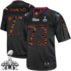 New England Patriots John Hannah Official Nike Black Elite Adult Camo Fashion Super Bowl XLIX NFL Jersey