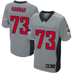 New England Patriots John Hannah Official Nike Grey Shadow Elite Adult NFL Jersey