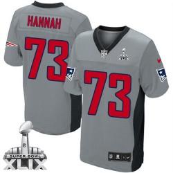 New England Patriots John Hannah Official Nike Grey Shadow Elite Adult Super Bowl XLIX NFL Jersey