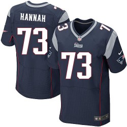 New England Patriots John Hannah Official Nike Navy Blue Elite Adult Home NFL Jersey
