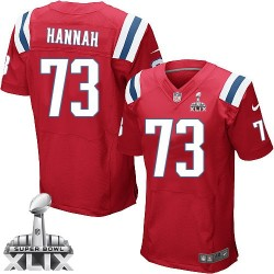 New England Patriots John Hannah Official Nike Red Elite Adult Alternate Super Bowl XLIX NFL Jersey