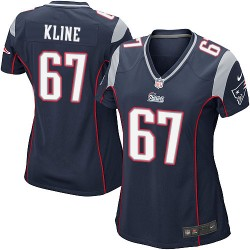 New England Patriots Josh Kline Official Nike Navy Blue Game Women's Home NFL Jersey