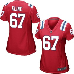 New England Patriots Josh Kline Official Nike Red Game Women's Alternate NFL Jersey