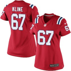 New England Patriots Josh Kline Official Nike Red Limited Women's Alternate NFL Jersey