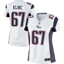 New England Patriots Josh Kline Official Nike White Limited Women's Road NFL Jersey