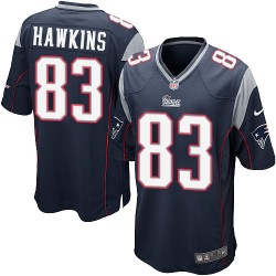 New England Patriots Lavelle Hawkins Official Nike Navy Blue Game Adult Home NFL Jersey