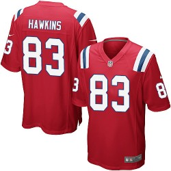 New England Patriots Lavelle Hawkins Official Nike Red Game Adult Alternate NFL Jersey