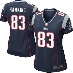 New England Patriots Lavelle Hawkins Official Nike Navy Blue Game Women's Home NFL Jersey