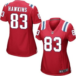 New England Patriots Lavelle Hawkins Official Nike Red Game Women's Alternate NFL Jersey