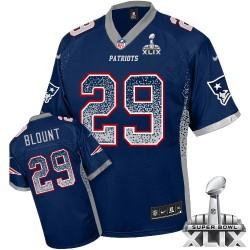 New England Patriots LeGarrette Blount Official Nike Navy Blue Elite Adult Drift Fashion Super Bowl XLIX NFL Jersey