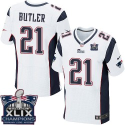 New England Patriots Malcolm Butler Official Nike White Elite Adult Road Super Bowl XLIX Champions NFL Jersey