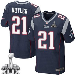 New England Patriots Malcolm Butler Official Nike Navy Blue Elite Adult Home Super Bowl XLIX NFL Jersey