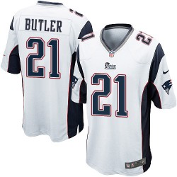 New England Patriots Malcolm Butler Official Nike White Game Adult Road NFL Jersey