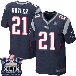 New England Patriots Malcolm Butler Official Nike Navy Blue Elite Adult Home Super Bowl XLIX Champions NFL Jersey