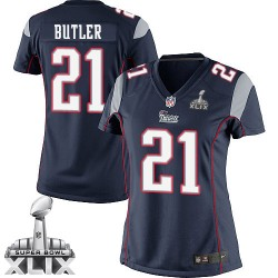 New England Patriots Malcolm Butler Official Nike Navy Blue Elite Women's Home Super Bowl XLIX NFL Jersey