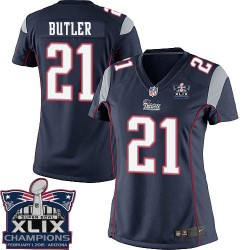 New England Patriots Malcolm Butler Official Nike Navy Blue Elite Women's Home Super Bowl XLIX Champions NFL Jersey