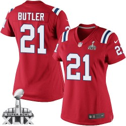 New England Patriots Malcolm Butler Official Nike Red Elite Women's Alternate Super Bowl XLIX NFL Jersey