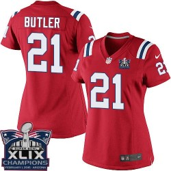 New England Patriots Malcolm Butler Official Nike Red Elite Women's Alternate Super Bowl XLIX Champions NFL Jersey