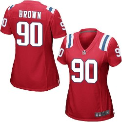 New England Patriots Malcom Brown Official Nike Red Game Women's Alternate NFL Jersey