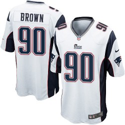 New England Patriots Malcom Brown Official Nike White Game Youth Road NFL Jersey