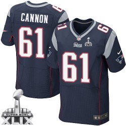 New England Patriots Marcus Cannon Official Nike Navy Blue Elite Adult Home Super Bowl XLIX NFL Jersey
