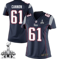 New England Patriots Marcus Cannon Official Nike Navy Blue Elite Women's Home Super Bowl XLIX NFL Jersey