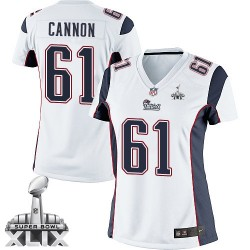 New England Patriots Marcus Cannon Official Nike White Elite Women's Road Super Bowl XLIX NFL Jersey