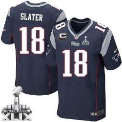 New England Patriots Matthew Slater Official Nike Navy Blue Elite Adult Home C Patch Super Bowl XLIX NFL Jersey