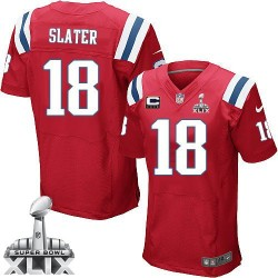 New England Patriots Matthew Slater Official Nike Red Elite Adult Alternate C Patch Super Bowl XLIX NFL Jersey