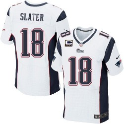New England Patriots Matthew Slater Official Nike White Elite Adult Road C Patch NFL Jersey