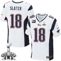 New England Patriots Matthew Slater Official Nike White Elite Adult Road C Patch Super Bowl XLIX NFL Jersey