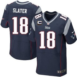 New England Patriots Matthew Slater Official Nike Navy Blue Elite Adult Home C Patch NFL Jersey