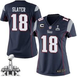 New England Patriots Matthew Slater Official Nike Navy Blue Elite Women's Home C Patch Super Bowl XLIX NFL Jersey